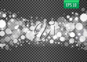 Abstract white bokeh lights on the transparent background, vector illustration