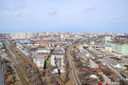 City landscape. The view from the heights of the 24th floor. Krasnodar city. Urban view