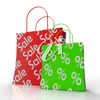 Sale Shopping Bags Shows Reductions Or Discounts