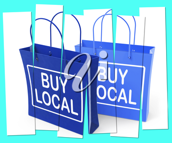 Buy Local Shopping Bags Promoting Buying Products Locally