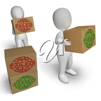 Passed And Failed Boxes Showing Product Testing Or Verification