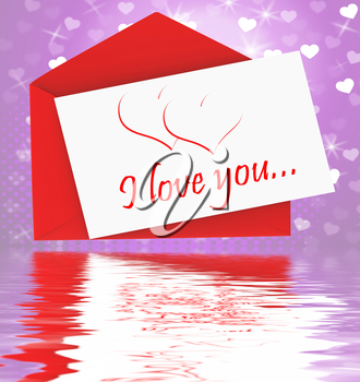 I Love You On Envelope Displaying Valentines Card Or Romantic Letter