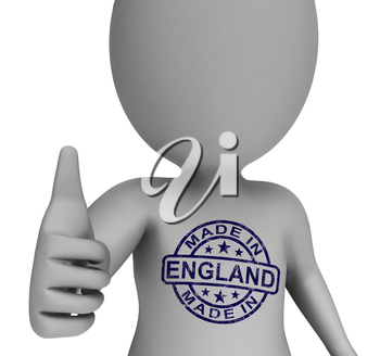 Made In England Stamp On Man Showing English Products Approved