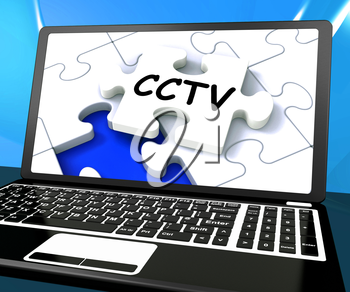 CCTV Laptop Monitoring Showing Camera Protection Or Online Surveillance