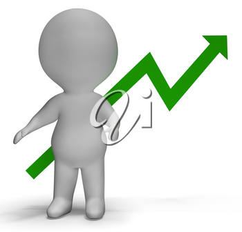 Profit Increase Graph And 3d Character Shows Market Gains