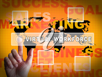 Virtual Workforce Offshore Employee Hiring 3d Illustration Means Recruiting Talent Staff And Teams Overseas
