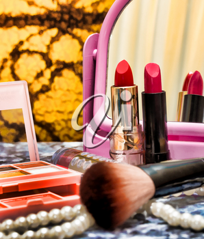 Red Lipstick Makeup Indicating Beauty Products And Make Up