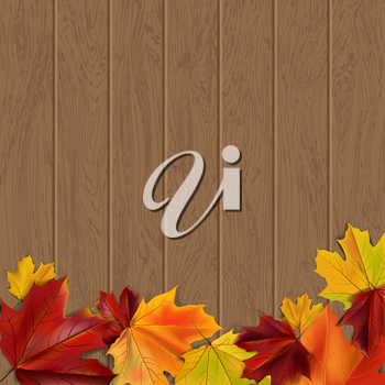 Autumn background with autumn leaves on wooden surface, vector illustration
