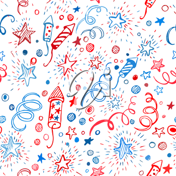 4th of July. American Independence Day. Hand-drawn seamless pattern EPS10