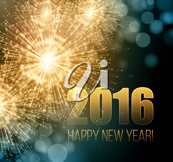 2016  New Year made a sparkler. Vector illustration EPS 10