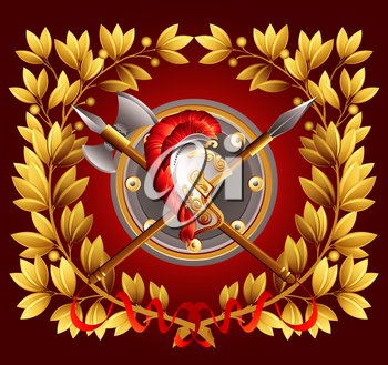 Antique arms and a laurel wreath. Vector illustration EPS 10