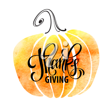 Watercolor design style Happy Thanksgiving Day. Give thanks, autumn design. Typography posters with pumpkin silhouette and text. Vector illustration EPS10