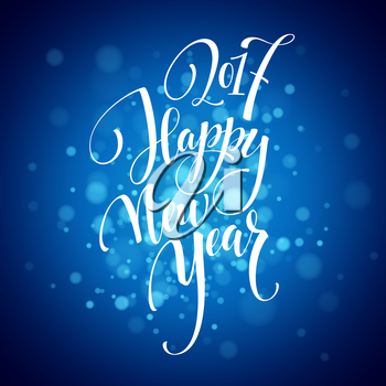 Marry Christmas and Happy New Year 2017 lettering . Christmas vector illustration with realistic bokeh, blured lights background. Greeting card. Vector illustration 2017