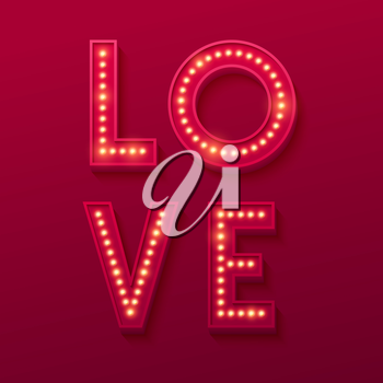 Love Retro light banner. Valentines card. Vector illustration EPS10