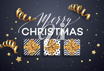 Christmas background with gift box with gold bow, streamers, confetti, a sprig of Christmas tree. Template for postcard, booklet, leaflets, poster. Vector illustration EPS10