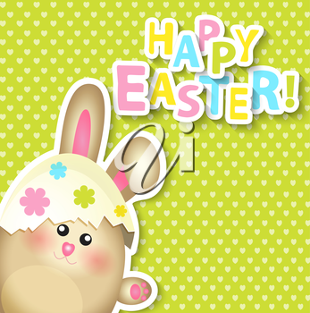 Happy Easter Greeting Card with rabbit, vector illustration.