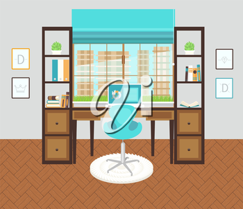 Interior office roomor working area.Vector illustration for design