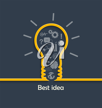 Concept of big ideas inspiration innovation and invention, effective thinking, text, vector.