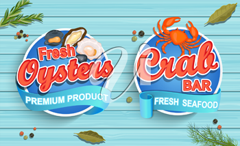 Seafood emblems on blue wooden background. Fresh oysters and crab bar logos and emblems. Vector illustration.