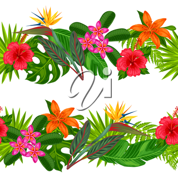 Seamless horizontal borders with tropical plants, leaves and flowers. Background made without clipping mask. Easy to use for backdrop, textile, wrapping paper.