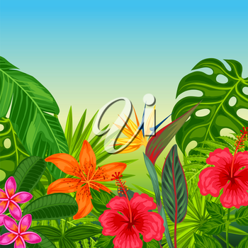 Background with stylized tropical plants, leaves and flowers. Image for advertising booklets, banners, flayers, cards.