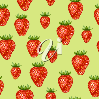 Seamless pattern with red strawberries. Decorative berries and leaves.