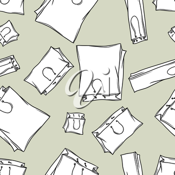 Hand drawn shopping bags vector seamless pattern.