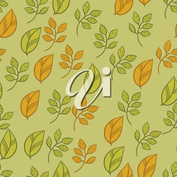 Vector seamless texture with fall hand drawn leaves.