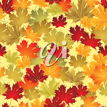 EPS10 Autumn leaves seamless background. Vector illustration.