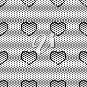 Old lace background seamless pattern with hearts.