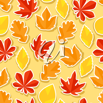 Seamless pattern with stickers autumn leaves.