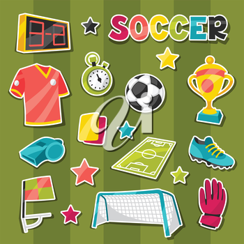 Set of sports soccer sticker symbols and icons in cartoon style.
