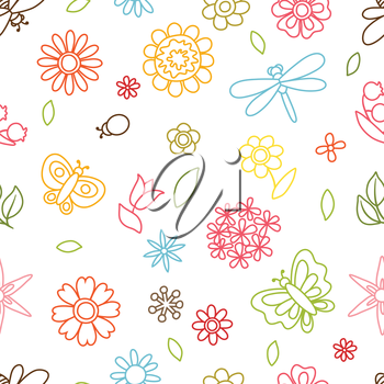 Natural pattern with beautiful simple flowers, beetles and butterflies.