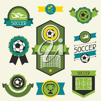 Sports ribbons, labels and badges with soccer (football) icons.