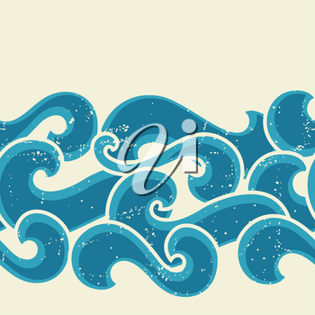 Grunge retro seamless pattern with abstract curly waves.