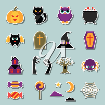 Happy halloween sticker set in flat design style.