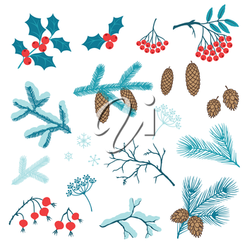 Set of Merry Christmas stylized winter branches.
