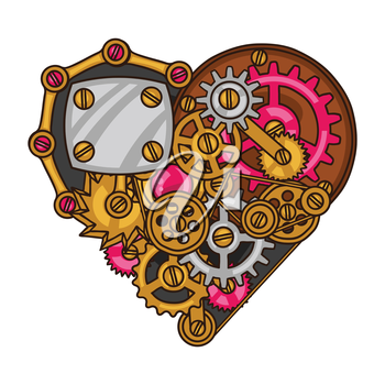Steampunk heart collage of metal gears in doodle style.