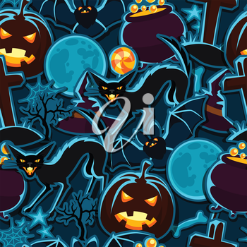 Happy halloween seamless pattern with stickers characters and objects.