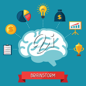 Brainstorm business and finance concept flat illustration.