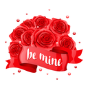 Be mine. Happy Valentine day greeting card with red ribbon and roses.