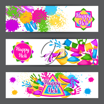 Happy Holi colorful banners. Illustration of buckets with paint, water guns, flags, blots and stains.