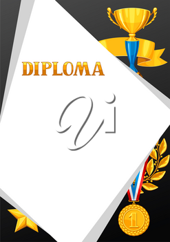 Diploma with realistic gold awards. Certificate for sports or corporate competitions.