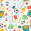 School seamless pattern with education items. Colorful supplies and stationery background.