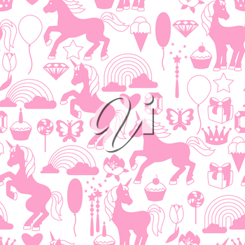 Seamless pattern with unicorns and fantasy items.
