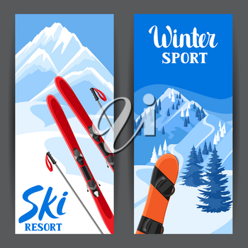 Winter ski resort banners. Beautiful landscape with alpine chalet houses, snowboard, snowy mountains and fir forest.