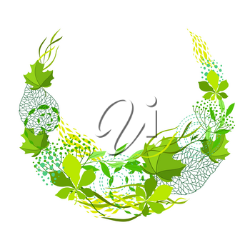 Frame of stylized green leaves for greeting cards. Nature illustration.
