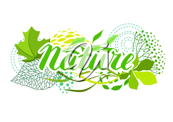 Background of stylized green leaves. Nature illustration.