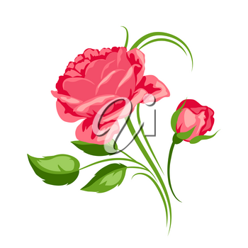 Decorative element with red roses. Beautiful flowers, buds and leaves.