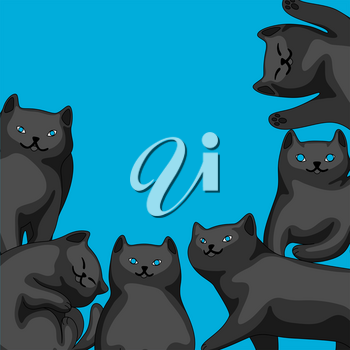 Background with cartoon black cats. Cute pets stylized illustration.